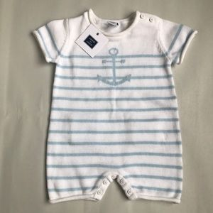 NWT Janie and Jack knit sailer romper
